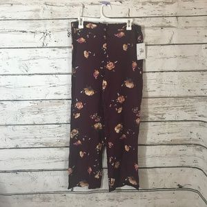 Love, Fire NEW Burgundy Red Floral Tie Waist Pants